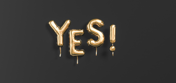 Yes text sign gold letters on black celebration banner, 3d rendering