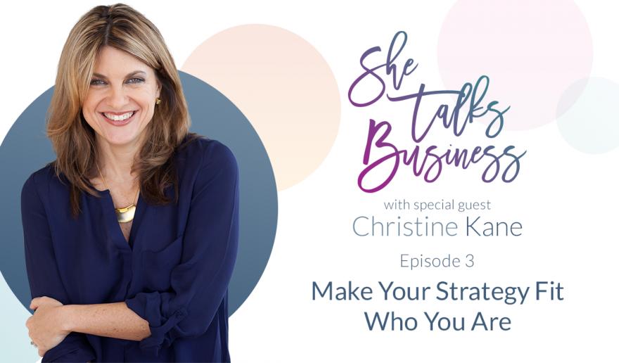 She Talks Business logo next to Christine Kane - Episode 3