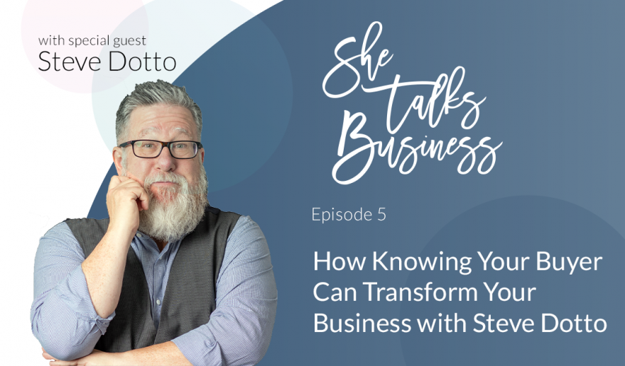 """Image of Steve Dotto on blue background with text overlay that reads """"How Knowing Your Buyer Can Transform Your Business with Steve Dotto - Ep. 5"""""""