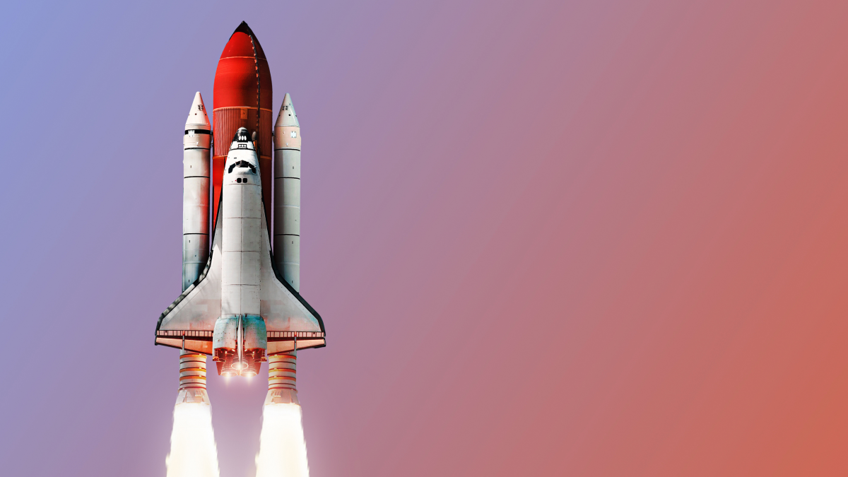 Space shuttle on color background. Gradient. Space art wallpaper. Place for infographics. Elements of this image furnished by NASA